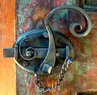 Door latch - yes I am geeky about locks and keys  That is gorgeous, recent and wonderful work...