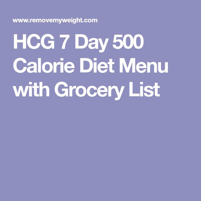 HCG 7 Day 500 Calorie Diet Menu with Grocery List