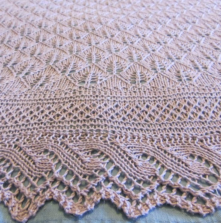 Free Knitting Pattern for Hush Little Baby Blanket - Gorgeous lace blanket featuring an all-over Fert Stitch lace pattern with a lace edging. Designed by Cookknitwine Cook. Size Large – 72 ins diagonal width. Pictured project by fifivet who sized it down to 49 inches.
