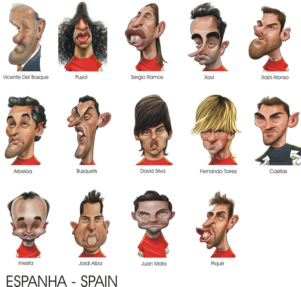 Euro-2012 Caricatures by Ricardo Galvão, via Behance