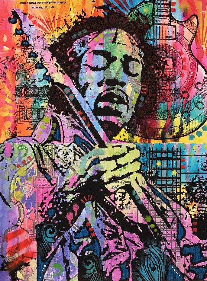 Jimi Hendrix Price£300.00 By Dean Russo  https://www.deepwestgallery.co.uk/product-page/jimi-hendrix   Giclee Print on fine art paper   Hand embellished with acrylic, spray paint and graphite   Limited Editions
