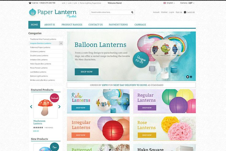 Paper Lantern - a London based company selling a unique range of creative lanterns. Click on the image for more info. http://www.websquare.co.uk/our-work/projects/paper-lanterns/ #design #development #ecommerce #branding