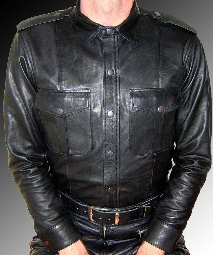 LEDERHEMD Langarm schwarz leather shirt LEDERFUTTER,leather shirt LEATHER LINING