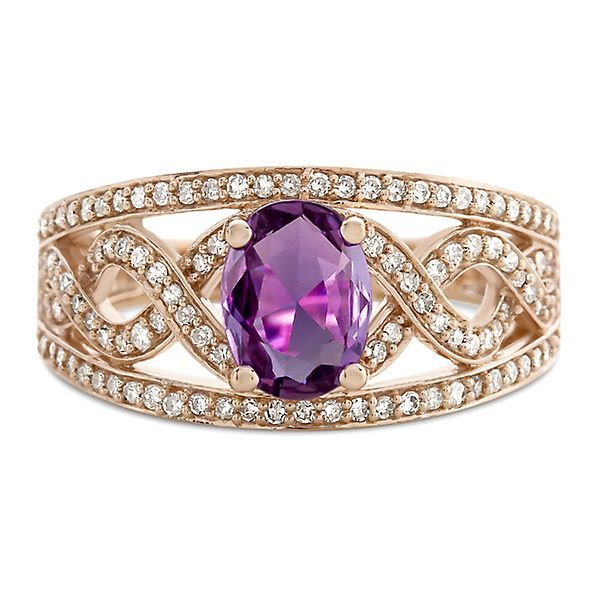 Purple Sapphire & 3/8 ct. tw. Diamond Ring in 10K Rose Gold