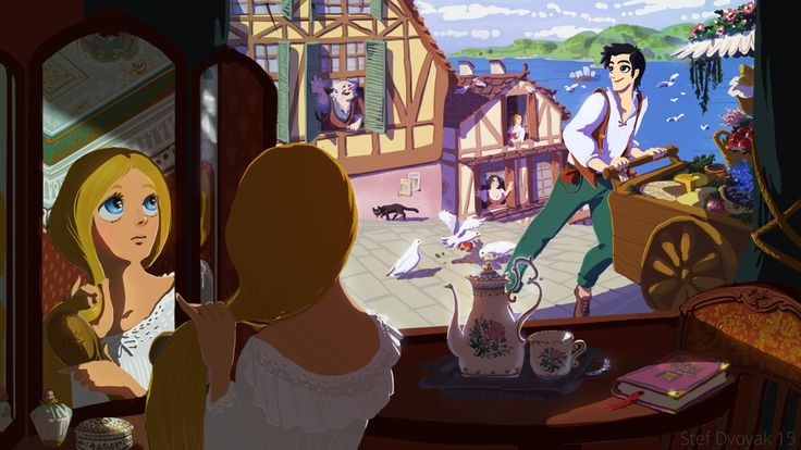 Illustration by Steph Dvoyak. The girl reminds me of a Rapunzel, brushing her hair in her beautiful #Victorian room, with the bone #China #tea set on the window, watching that #handsome guy selling some stuff to village people in the morning. #Cat, pigeons... reminds a little bit of Ghibli's towns. #characterdesign #character #concept #art #design #animation #dvoyak