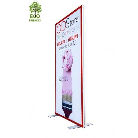 Totem pubblicitario con stampa in tessuto eco friendly