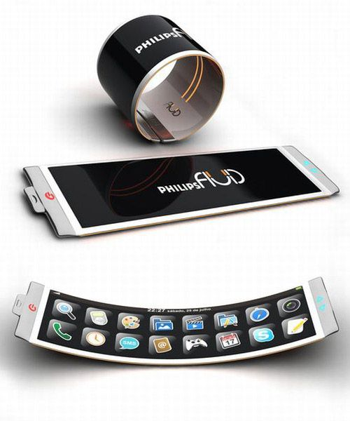 "Philips Fluid Flexible Concept  The Philips Fluid Smartphone designed by Brazilian designer Dinard da Mata looks like one of those ""Slap Wrap"" slap bracelets kids used to wear in the 90s. Flexibility is one thing that makes it differ from conventional smart phones. Made of OLED, it can keep all the features of a smart phone available while adding the extra advantage of turning into a bracelet."