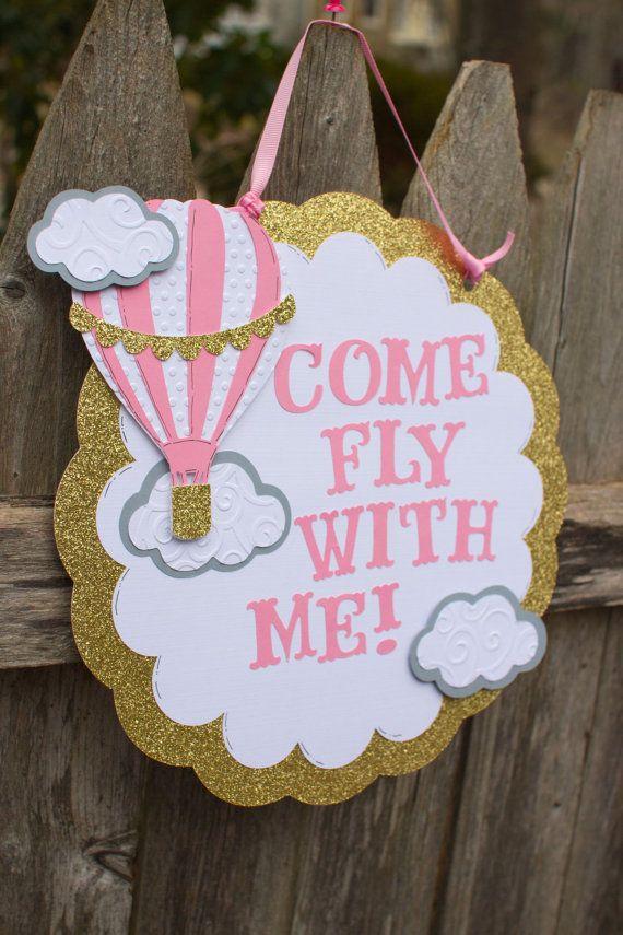 Hot Air Balloon Birthday Door Sign, Pink and Gold Hot Air Balloon