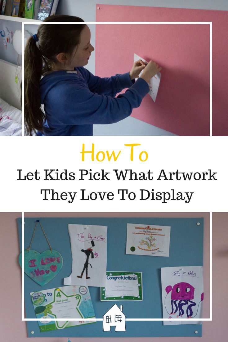 How to display your kids artwork. Help them show off the things that means something to them and throw away pieces they no longer want. Saves the mum guilt of your kids crafts and kids artwork display #kidscrafts #kidsroom