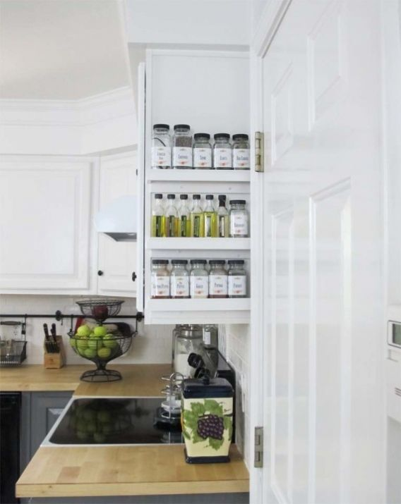 """Here's a quick kitchen Spice-Up!Starting with a sweet little spice rack idea. I've been wanting one for a while. Sadly, I've been stashing my spices in a small box on the bottom shelf of my rolling """"island"""" until I could figure something out. Well, when I was working on my magazine-rack…"""