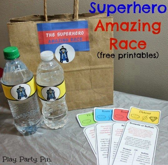 The best superhero party race, a superhero amazing race complete with free printable Amazing race clues, clue envelopes, and even blank clues!