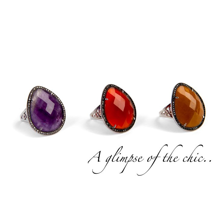 Amethyst and Agate rings with dark zirconiums. A glimpse of the #chic.  #Ultimaedizione #jewel