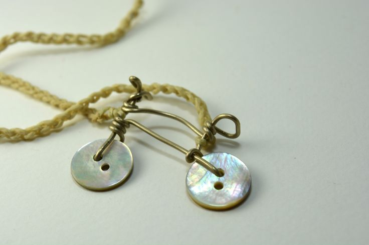#button #necklace #handmade #bicycle
