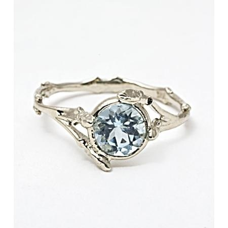 Bittersweets Ny Twig Ring With Aquamarine--pearl pre engagement gypsy wedding beach ring