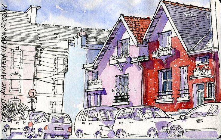 Des maisons jumelles des années 30 Aquarelle sur carnet Moleskine 13x21 cm  Twin houses from the 30 th Watercolor on Moleskine sketchbook 13x21 cm