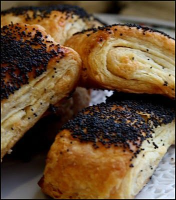 Birkes. Danish pastry sprinkled with poppy seeds (birkes). My favourite breakfast in Denmark - birkes with cheese. Yum! I must make some again...