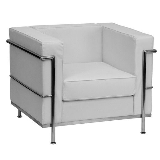 Flash Furniture Hercules Regal Series Contemporary White Leather Chair with Encasing Frame ZB-REGAL-810-1-CHAIR-WH-GG