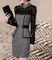 Мед мода бесплатная Shipping2014 женские платья горяч-продавая свитер элегантный классическая темперамент тонкий тонкий кружево упаковка платье-мини