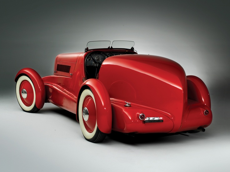 Edsel Ford's 1934 Model 40 Special Speedster (all-aluminum body), pre-restoration red on red, 2010