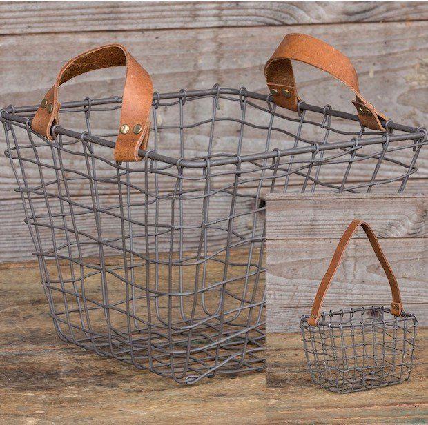 Wire Baskets | Decorative Metal Baskets | Leathered Handled Basket