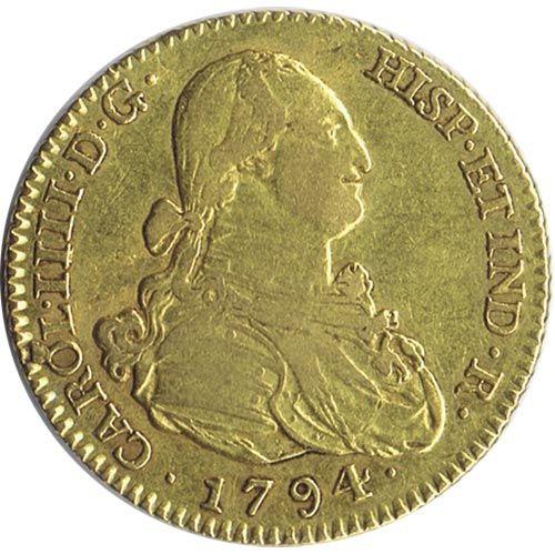 2 Escudos Españoles de oro Carlos IV 1794 Madrid MF