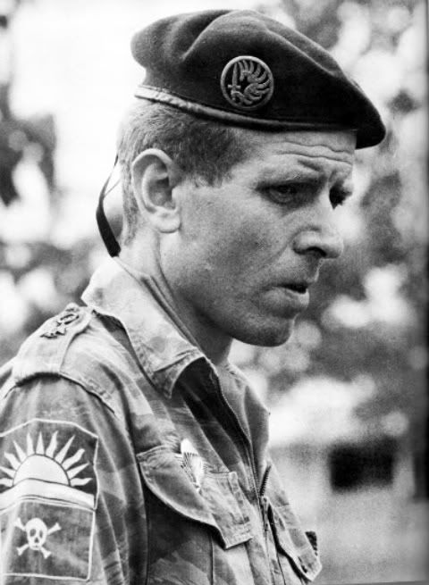 German mercenary Rolf Steiner during his service as commander of the 4th Biafran Commando Brigade, Nigerian Civil War, 1968. A famous legionnaire who served in Algeria and Vietnam, Steiner became a Biafran citizen and refused to take pay while leading the 4th Commandos, believing it a noble cause.