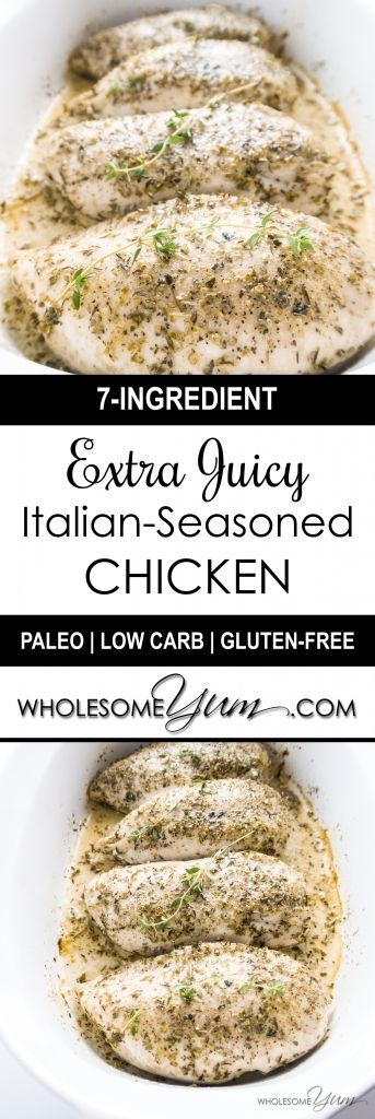 3-Step Juicy Italian-Seasoned Chicken (Paleo, Low Carb) - This simple Italian-seasoned chicken breast will be the juiciest one you've ever tried - in just 3 easy steps! Low carb, paleo, gluten-free, and THM S. | Wholesome Yum