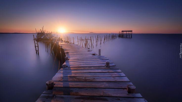 Drewniane, Molo, Wschód Słońca, Morze
