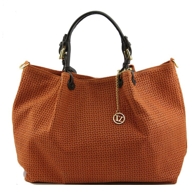 Tuscany Leather Woven Leather Bag in Brick Orange