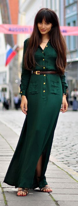 Green Maxi Dress Streetstyle