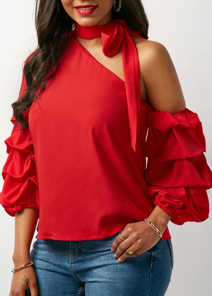 Red Tie Neck Layered Sleeve Blouse | Rosewe.com - USD $30.49