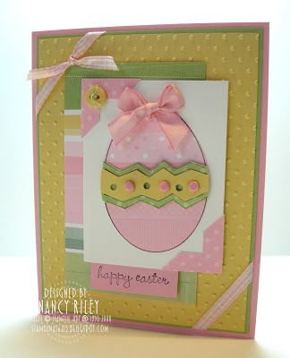 "Stamps: A Good Egg Paper: Spring Fling DP, Pretty In Pink, Certainly Celery, So Saffron, and Whisper White DP Ink: Basic Black Embellishments: Pink Gingham Ribbon, Pretty In Pink Taffeta Ribbon, Pretty In Pink Brads, So Saffron Button with DMC #772 Embroidery Floss (non-SU) Tools: Swiss Dots Cuttlebug Embossing Folder (non-SU), Photo Corner Punch, 1/8"" Handheld Circle Punch Supplies: Mini Glue Dots, Stampin' Dimensionals"
