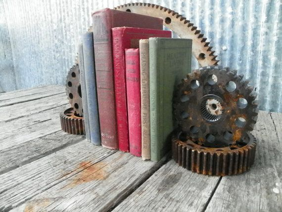 Steampunk Urban Industrial Bookends Gears Man Cave Office Studio Handmade Vintage
