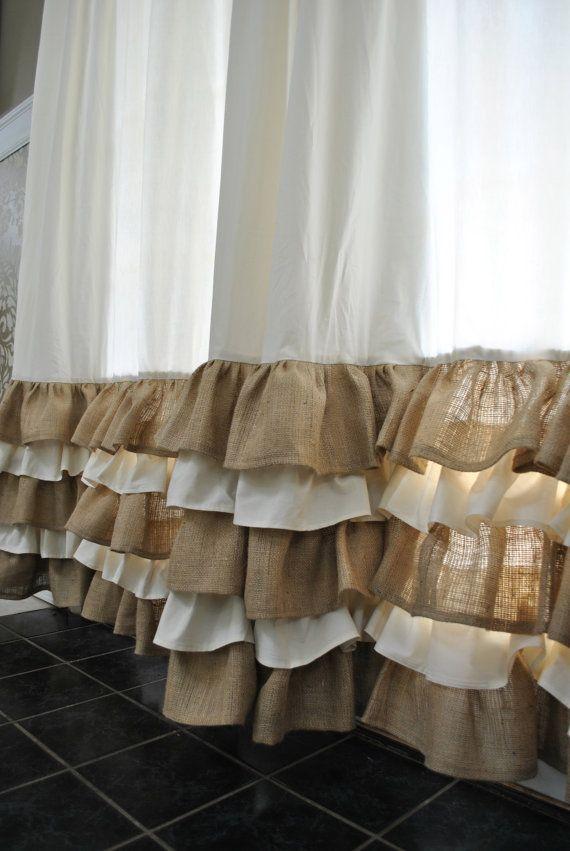 Ruffled Bottom Burlap Curtain Drapes