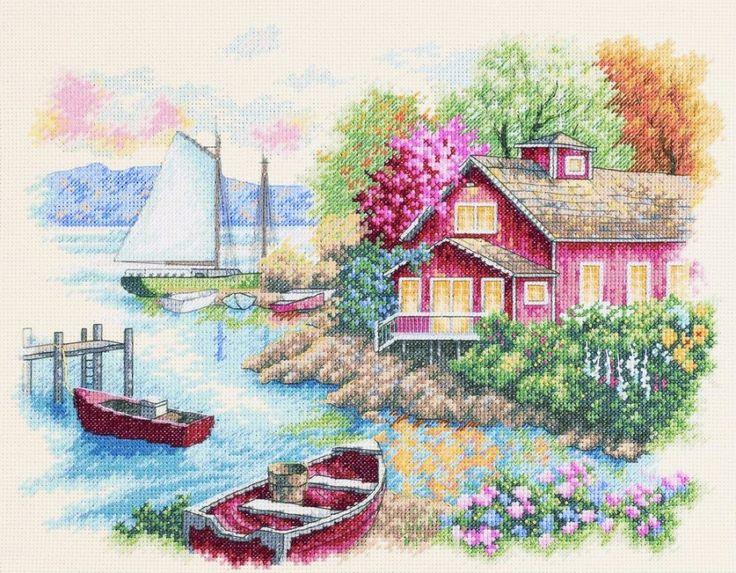 Скачать Спокойный дом у озера бесплатно. А также другие схемы вышивок в разделах: , Dimensões, Casas, Tema do mar, Paisagem rural