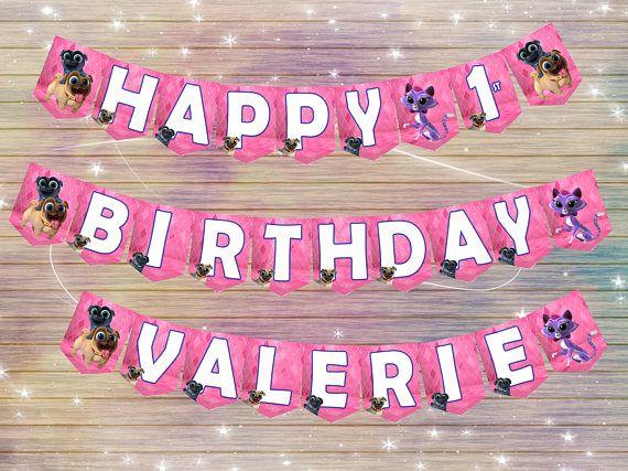 Puppy dog pals banner DIY happy birthday banner thank you