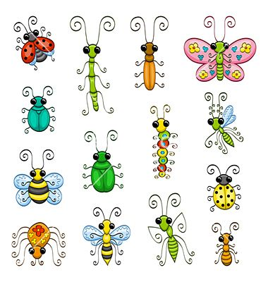 Cartoon insects vector on VectorStock®