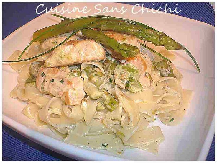 Tagliatelles au saumon frais et aux asperges vertes.