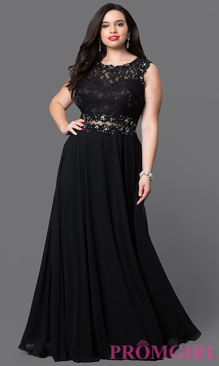 Image of long plus prom dress with sheer-waist lace bodice. Style: DQ-9322P Detail Image 2