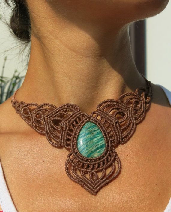 Precious Amazonite in macrame statement necklace by AntheaMacrame