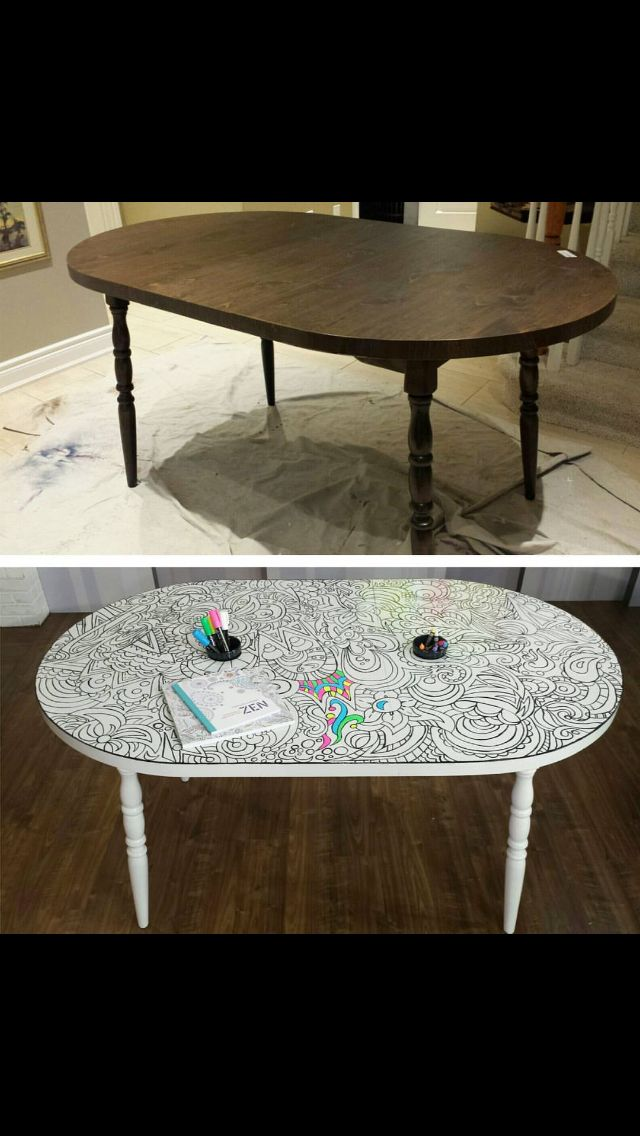 Diy adult coloring table. Use rustoleum dry erase paint and than free hand pencil on an intricate design. Paint over pencil lines with black paint. Color over and over again!!