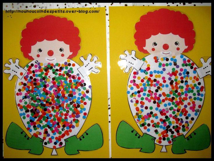 - Aujourd'hui sur le thème du carnaval les loulous ont réalisé un clown avec son corps en forme de ballon et rempli de confettis !! - pour les confettis j'ai la perforatrice a trou bien pratique pour faire des confettis (photo 1), découper le gabarit...