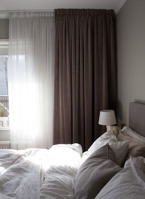double curtain, lots of comforter and blanket, soft pillow, grey colour