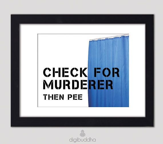 Check for murderer then pee poster typography word art for Quirky bathroom decor