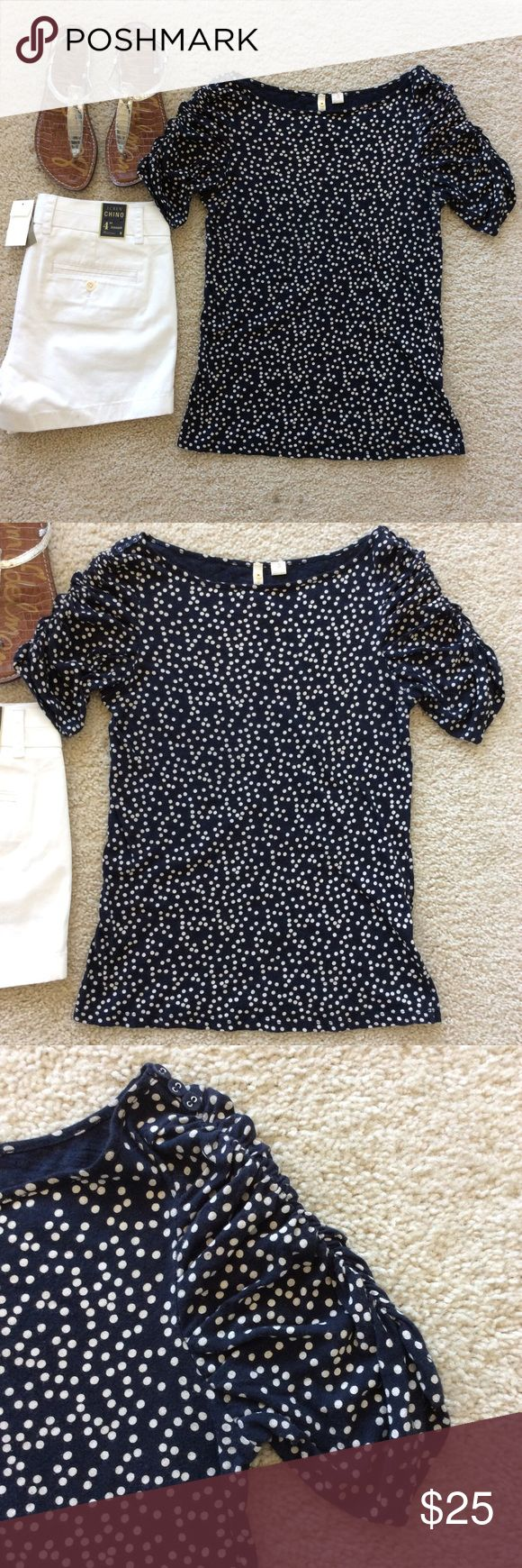 """{Anthropologie} Little Yellow Button Polka Dot top {Anthropologie} Little Yellow Button Polka Dot top. Super cute navy with white dots. Sleeves are ruched with little buttons on the shoulders. Laying flat approx 22.5"""" shoulder to hem, approx 15.5"""" pit to pit. 100% cotton. Size S. Great condition except for some wash and wear. No holes, stains, snags. #889 Anthropologie Tops Tees - Short Sleeve"""
