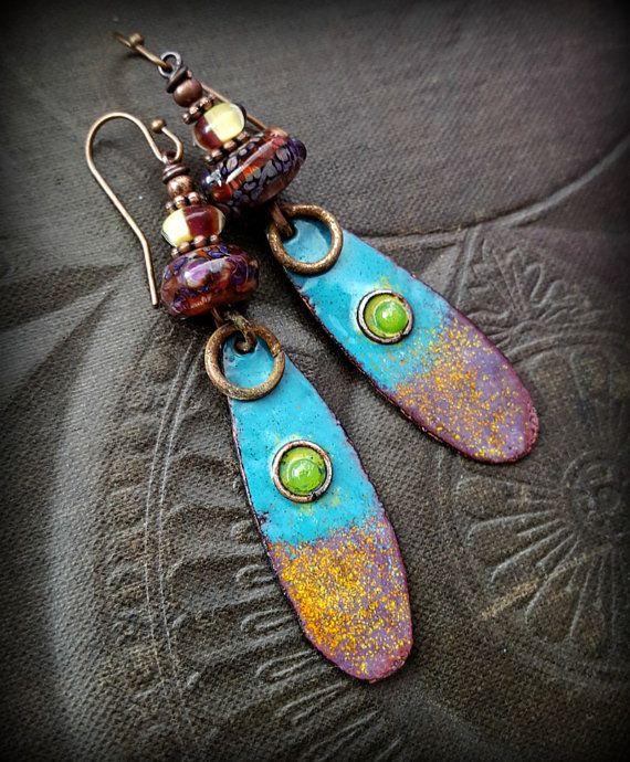 Enameled Copper Earrings Lampwork Glass Rustic di YuccaBloom