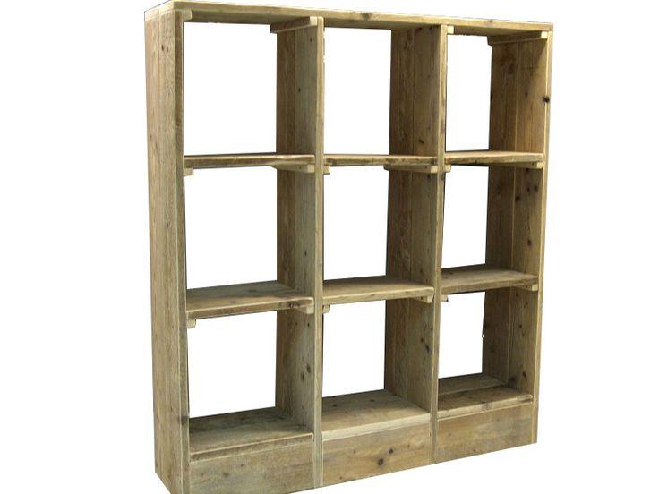 Voorbeeld van wandmeubels met vakverdeling. De vakkenkasten kun je gemakkelijk zelf van hout maken, bouwtekeningen voor steigerhout wandmeubels zijn gratis.