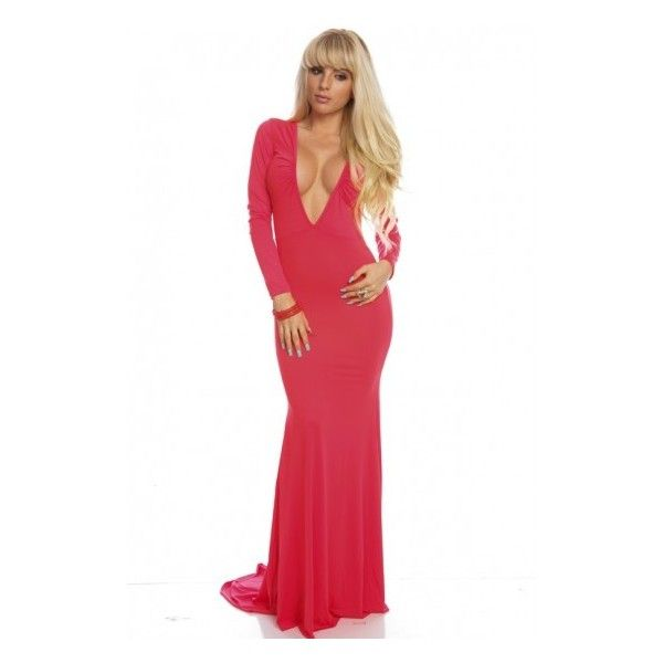 BRIGHT CORAL DEEP V-NECK LONG SLEEVE DRESS GOWN (46 AUD) ❤ liked on Polyvore featuring dresses, gowns, long maxi dresses, cheap maxi dresses, halter maxi dress, maxi dress, plus size maxi dresses, white long sleeve dress, white gown and long sleeve gowns