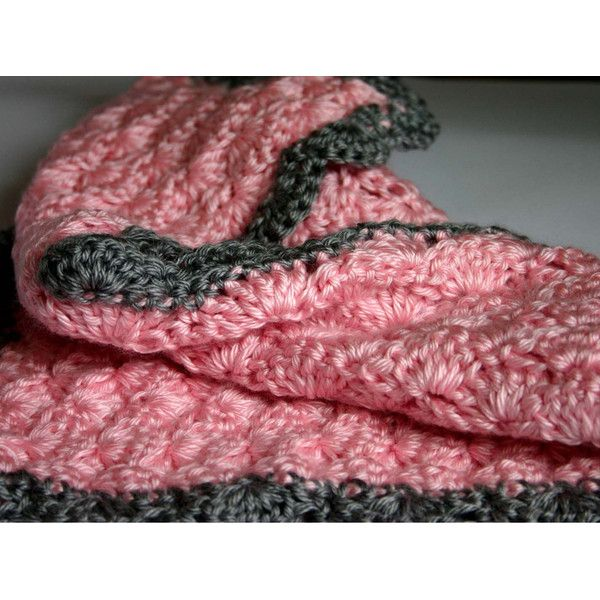 Light Pink and Gray Car Seat Crocheted Baby Blanket or Custom Color ($20) ❤ liked on Polyvore featuring bedding, blankets & throws, grey, home & living and quilts