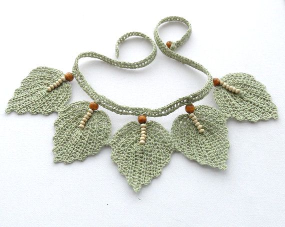 Crochet Necklace - Natural Linen Necklace Choker Leaves
